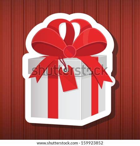 Vector Holiday Gift on Wooden Background - stock vector