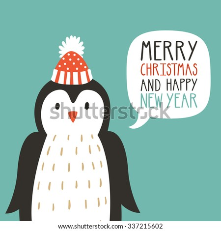 """Vector holiday illustration of a cute penguin in a hat saying """"Merry Christmas and happy New Year"""". Christmas background with smiling cartoon character. Winter greeting card. - stock vector"""