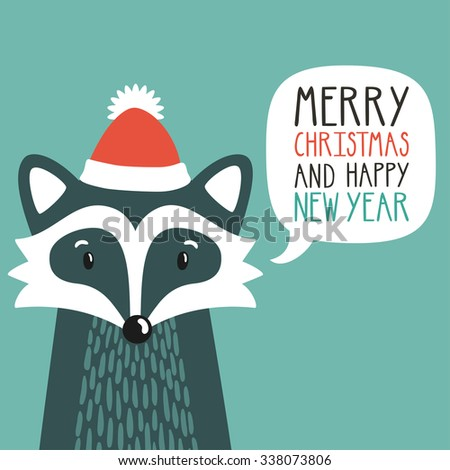 """Vector holiday illustration of a cute raccoon in a santa's hat saying """"Merry Christmas and happy New Year"""". Christmas background with smiling cartoon character. Winter greeting card. - stock vector"""