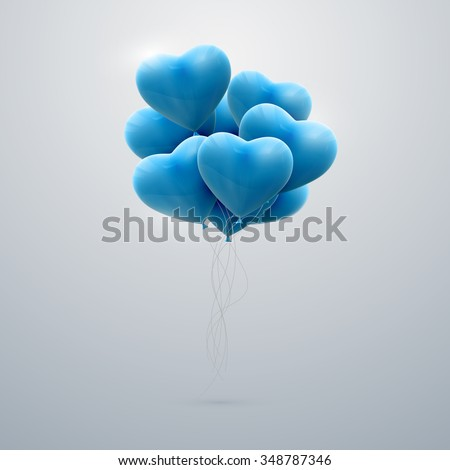 vector holiday illustration of flying bunch of blue balloon hearts. Happy Valentines Day - stock vector