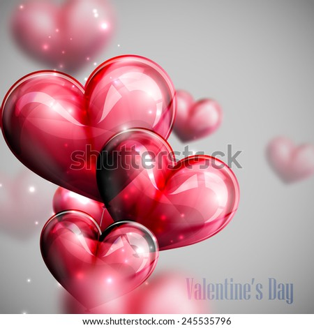 vector holiday illustration of flying bunch of red balloon hearts with shiny sparkles. Happy Valentines Day - stock vector