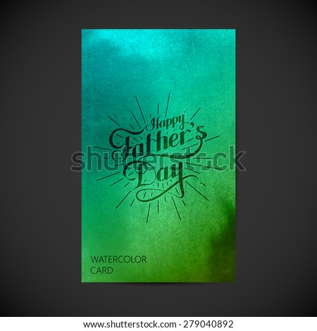 vector holiday illustration of handwritten Happy Fathers Day retro label with light rays on watercolor background. lettering composition. postcard design  - stock vector