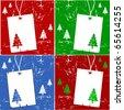 Vector Holiday Tree Gift Tag Set - stock vector