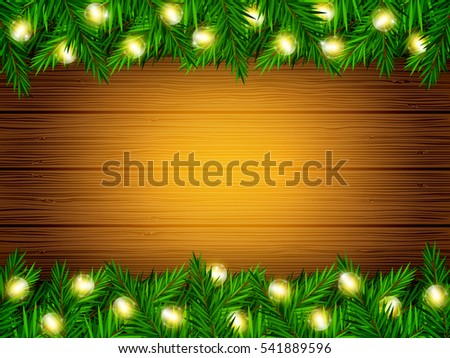 Vector holiday wood texture background with fir branches and Christmas lights