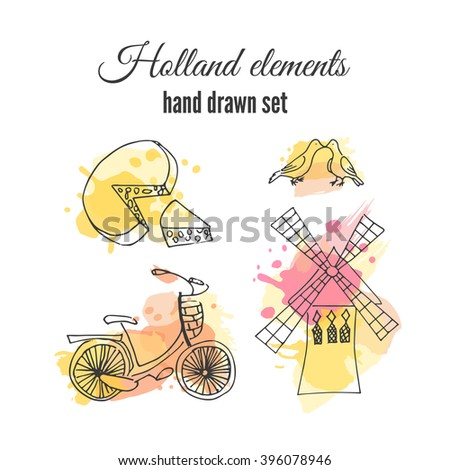 Vector holland decorative elements. Netherlands illustrations. Amsterdam bicycle and windmill. Sketch  drawing on holland elements. Holland windmill illustration. Netherlands traditional elements.  - stock vector