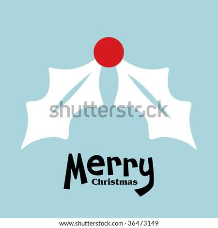 vector holly of christmas card - stock vector