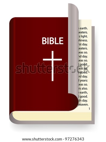 Vector Holy Bible isolated on white - stock vector