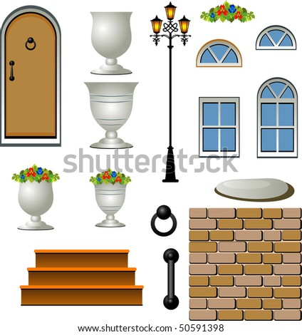 Vector Home Building Components. Over white. - stock vector