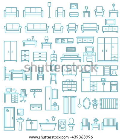 Vector home furniture outline icons set 2