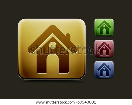 vector home icon set, includes four color versions for your web colour design used. - stock vector