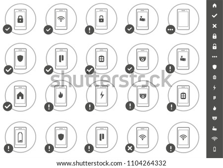 Vector Home Security icons with smartphone cellphone mobile phone