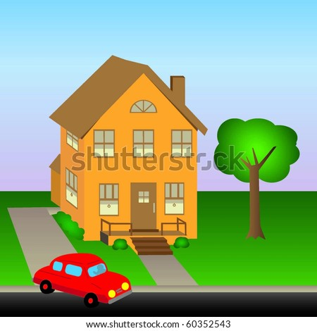 Vector Home with lawn and car - stock vector