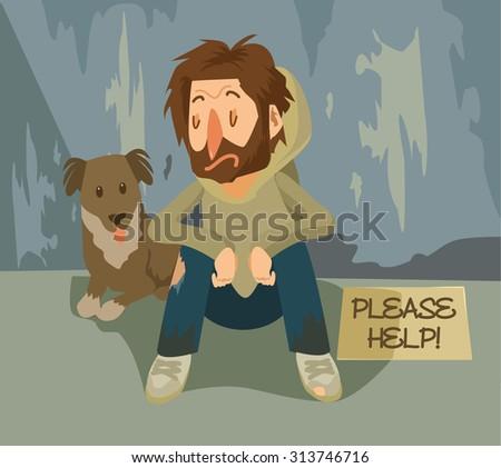 Vector homeless flat illustration - stock vector