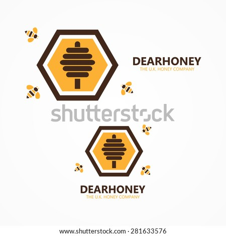 Vector honey and bee logo - stock vector