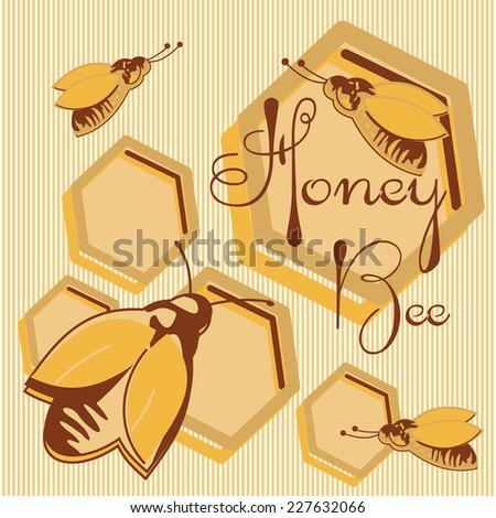 Vector honey background and bee on honeycomb label for your design  - stock vector