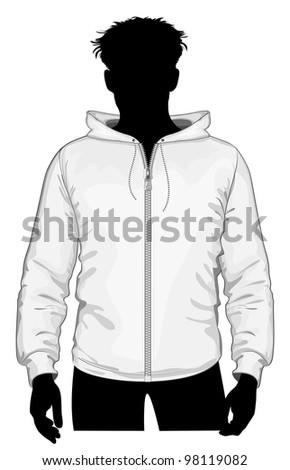 Vector. Hooded sweatshirt with zipper. - stock vector