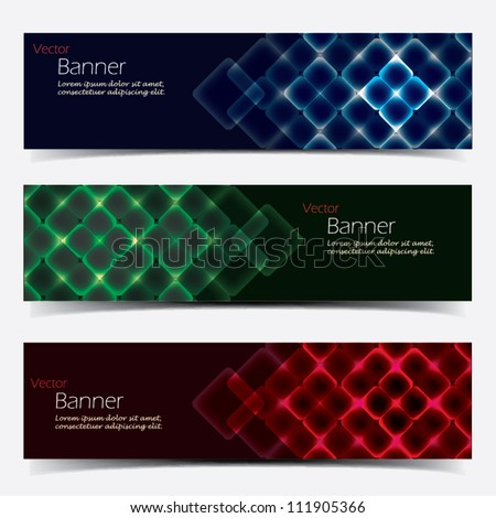 Vector Horizontal Banner Set - stock vector