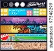 vector horizontal banner urban themes - stock vector