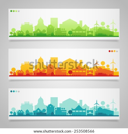 Vector horizontal banners of small town or village. - stock vector