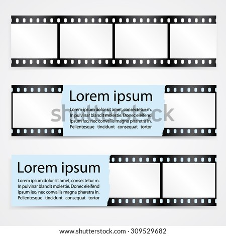 Vector horizontal banners set with with film strips. Use for movies, cinema, theater, festival, show etc.  Extensive use - www, website, web, backdrop, card, poster, label etc. Eps 10 vector file. - stock vector