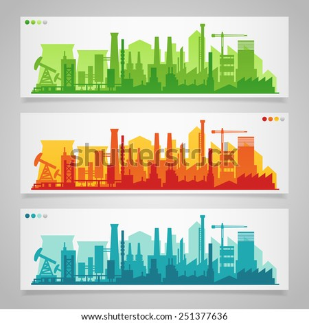 Vector horizontal  banners with industrial part of city: factories, refineries and power plants. - stock vector