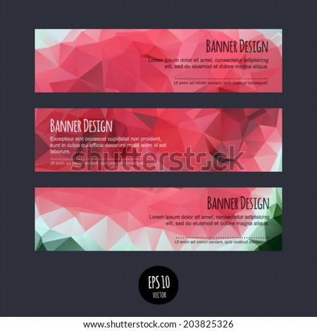 Vector horizontal business banners with multicolored abstract polygonal geometric background. Vivid colorful blank. Bright design layout. Modern fashion template. - stock vector