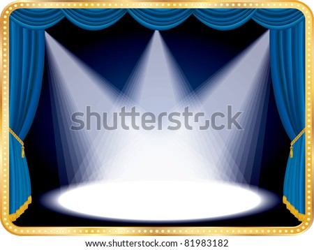 vector horizontal empty stage with blue curtain and three spots, eps 10 file - stock vector