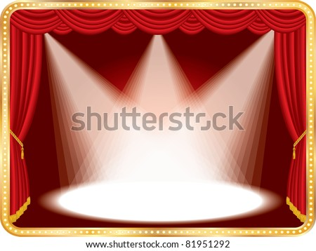vector horizontal empty stage with red curtain and three spots, eps 10 file - stock vector