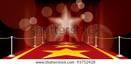vector horizontal entertainment background with red carpet and yellow stars - stock vector