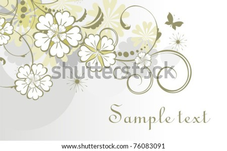 Vector horizontal floral card