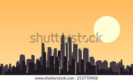 Vector horizontal illustration of abstract big city and skyscrapers with glare from sun. - stock vector