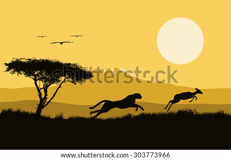 Vector horizontal  illustration of africa. wild life. hunting. africa logo. Jaguar and antelope. Tree and animals.  - stock vector