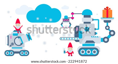 Vector horizontal illustration of the gnome operates the machine that holds present and another produces snowflakes. Color bright flat design for card, banner, poster, advertising, blog  - stock vector