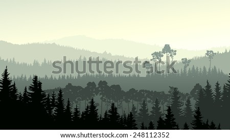 Vector horizontal panorama of wild coniferous forest in green tone. - stock vector