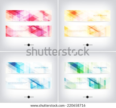 Vector horizontal web banners collection with modern light hi-tech backgrounds - stock vector