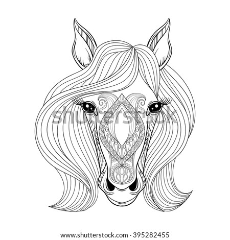 Vector Horse Coloring Page With Zentangle Face Hand Drawn Patterned Head