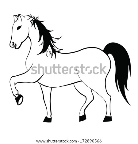 Vector horse image on white background