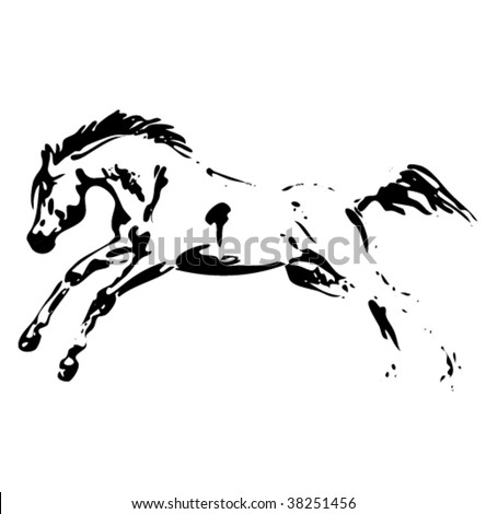 vector horse jumping - stock vector