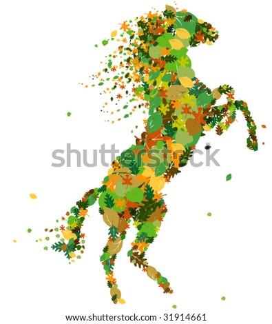 Vector horse silhouette. - stock vector