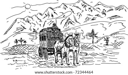 vector - Horse wagon ,high mountains at sunny day