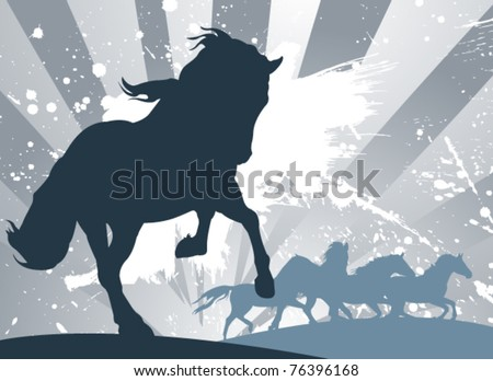 vector horses - stock vector
