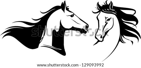 vector horses black and white - stock vector