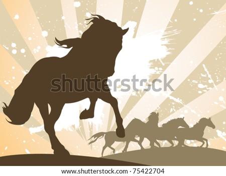 vector horses silhouettes - stock vector