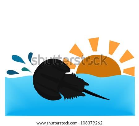 Vector - Horseshoe crab shell in the ocean. - stock vector