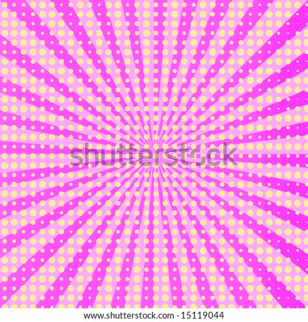 Vector Hot Pink Retro Burst Halftone, Also See Jpeg In My Portfolio - stock vector