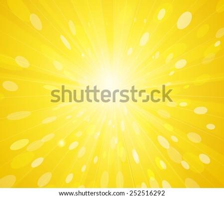 Vector hot summer yellow sunny rays background. Sun burst - stock vector