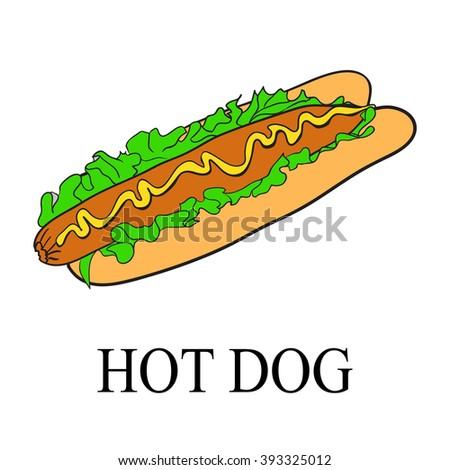 Vector hotdog with mustard.  - stock vector
