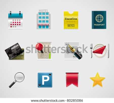 Vector hotel and trip planning icons - stock vector