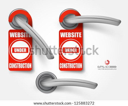 Vector hotel handles with hanging signs, site under construction - stock vector