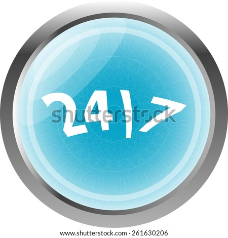 vector 24/7 hour button web icon isolated on white - stock vector